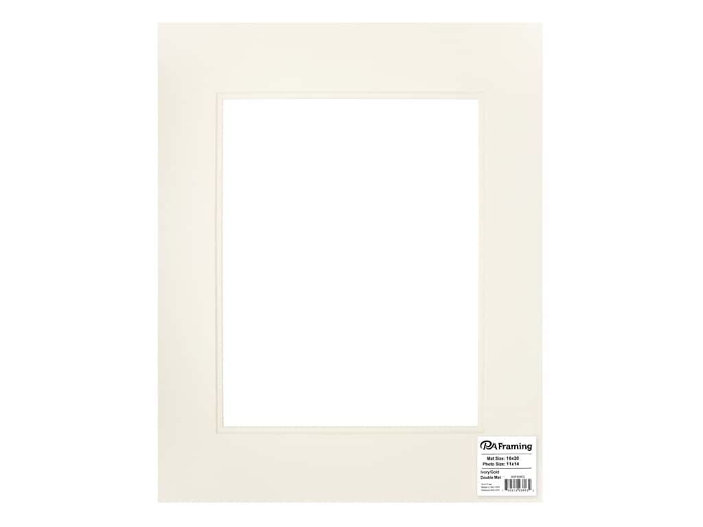 PA Framing Pre-cut Double Photo Mat Board Cream Core 16 x 20 in. for 11 x 14 in. Photo Ivory/Ivory