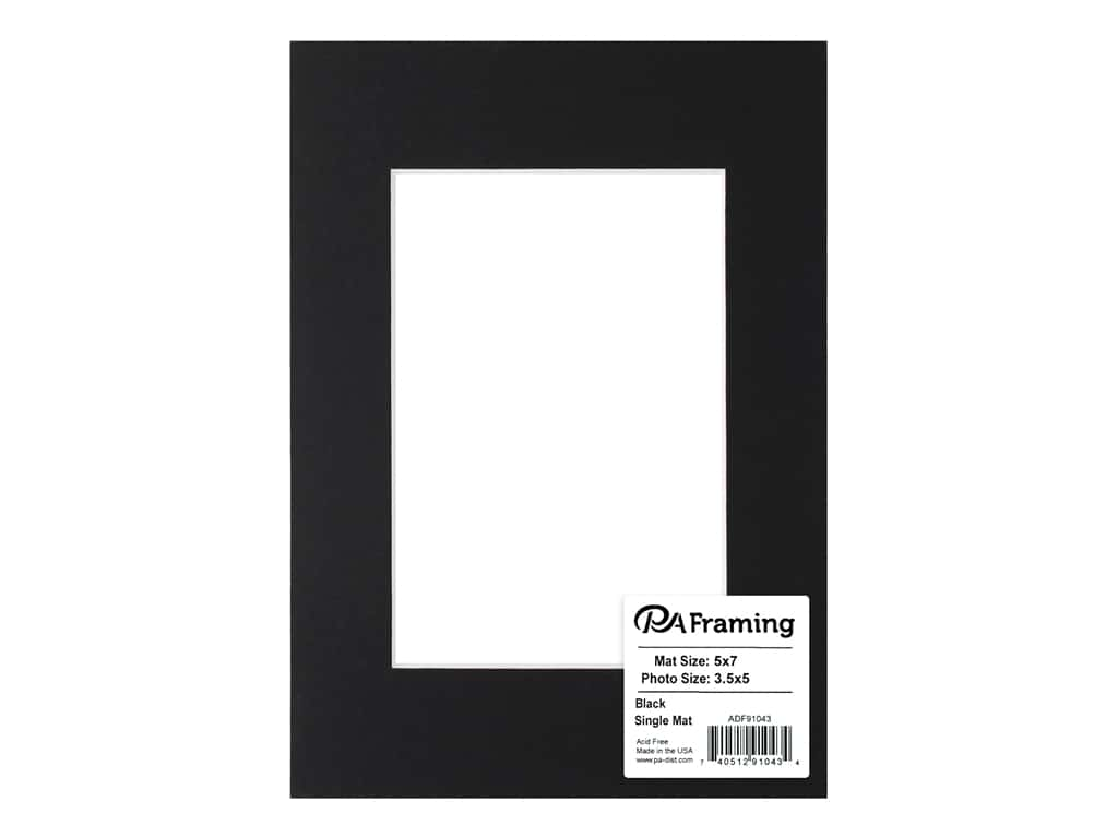 PA Framing Pre-cut Photo Mat Board White Core 5 x 7 in. for 3 1/2 x 5 in. Photo Black