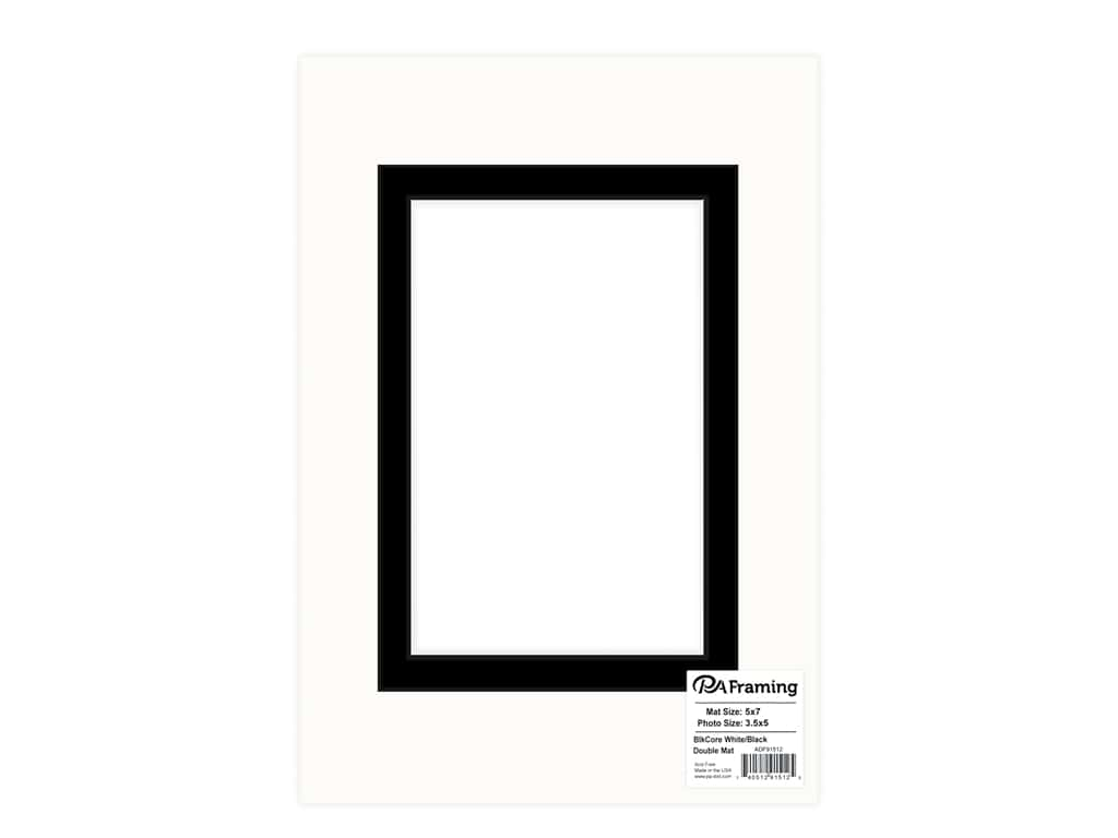PA Framing re-cut Double Photo Mat Board Black Core 5 x 7 in. for 3 1/2 x 5 in. Photo White/Black
