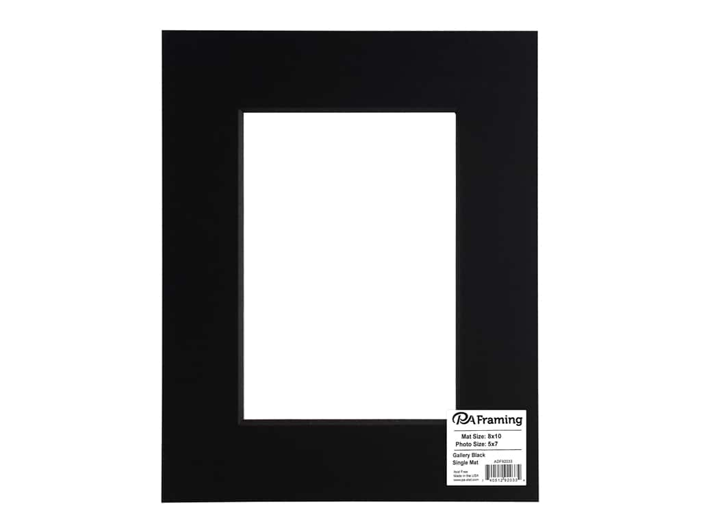 PA Framing Pre-cut Double Thick Gallery Photo Mat Board Black Core 8 x 10 in. for 5 x 7 in. Photo Black