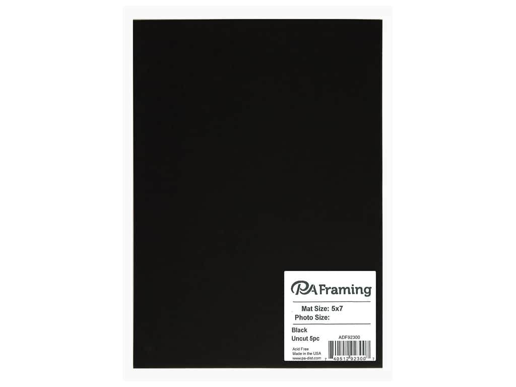 PA Framing Photo Mat Board Uncut 5 x 7 in. White Core Black 5 pc.