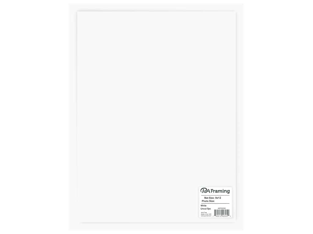 PA Framing Photo Mat Board Uncut 9 x 12 in. White Core White 5 pc.