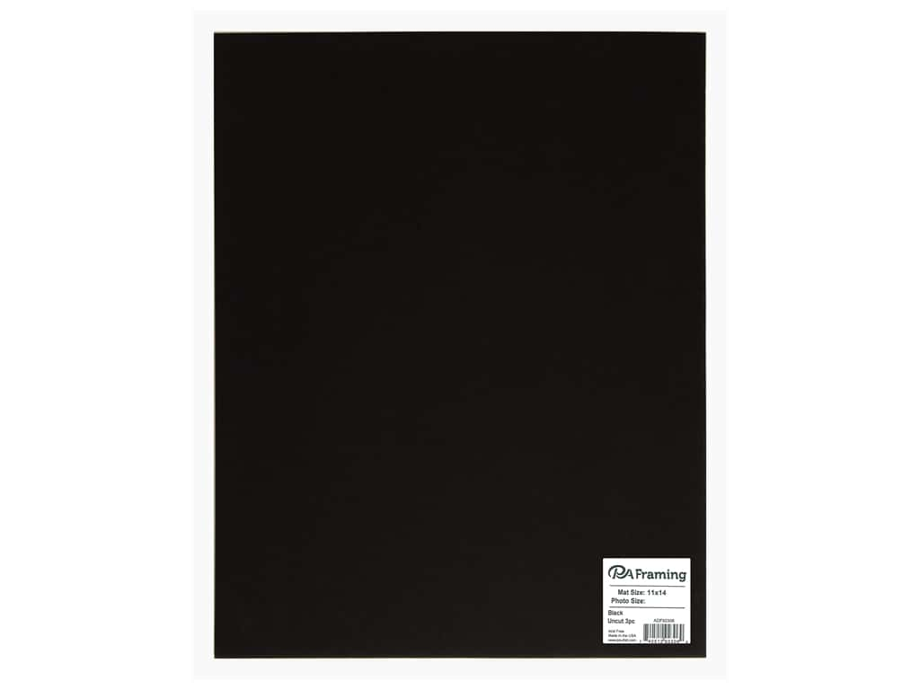 PA Framing Photo Mat Board Uncut 11 x 14 in. White Core Black 3 pc.