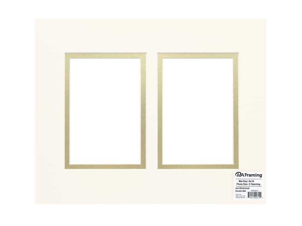 PA Framing Pre-cut Double Photo Mat Board Cream Core 8 x 10 in. 2 Openings Antique White/Gold