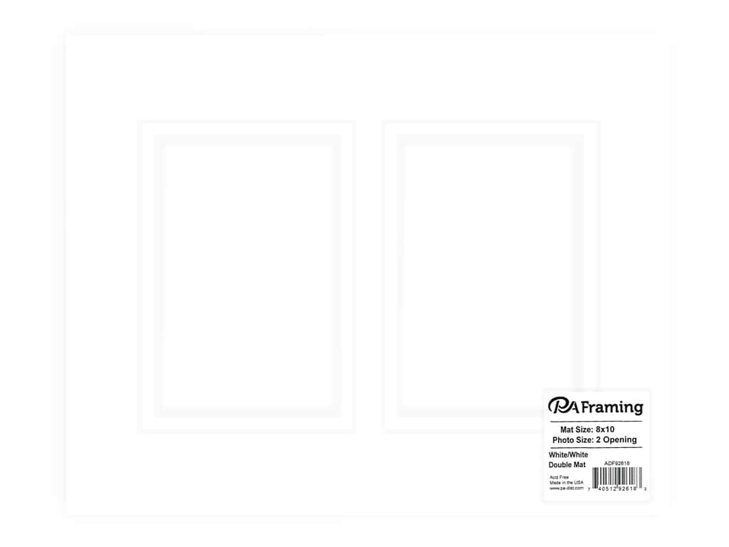 PA Framing re-cut Double Photo Mat Board Cream Core 8 x 10 in. 2 Openings White/White