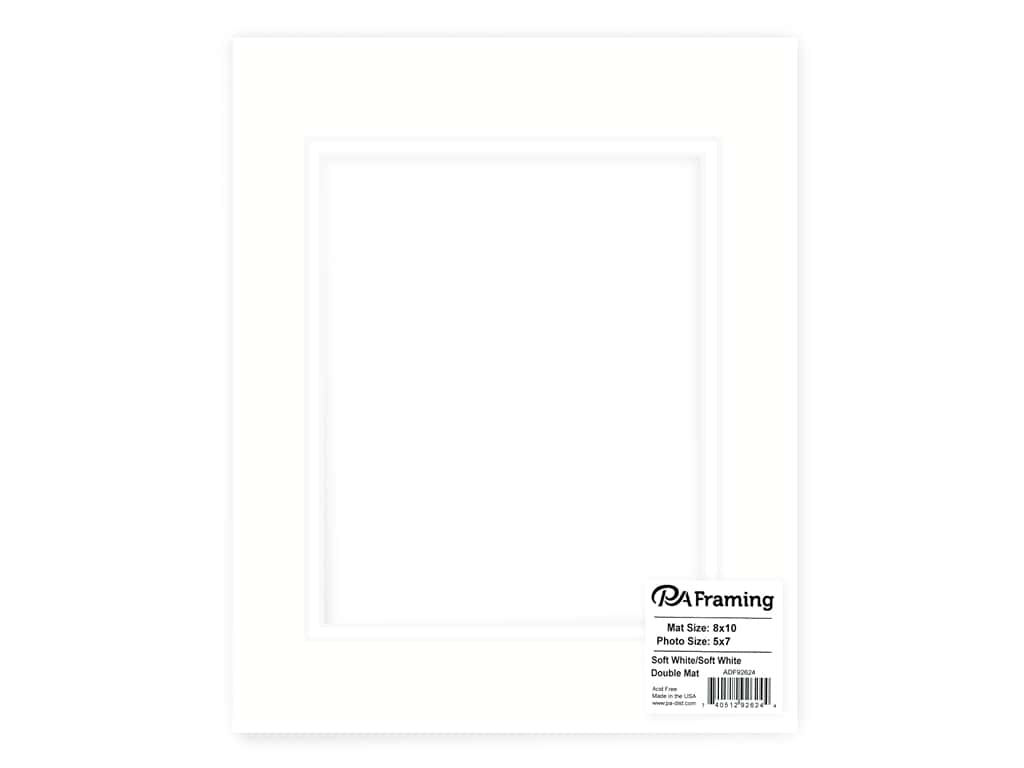 PA Framing Pre-cut Double Photo Mat Board White Core 8 x 10 in. for 5 x 7 in. Photo Soft White/Soft White