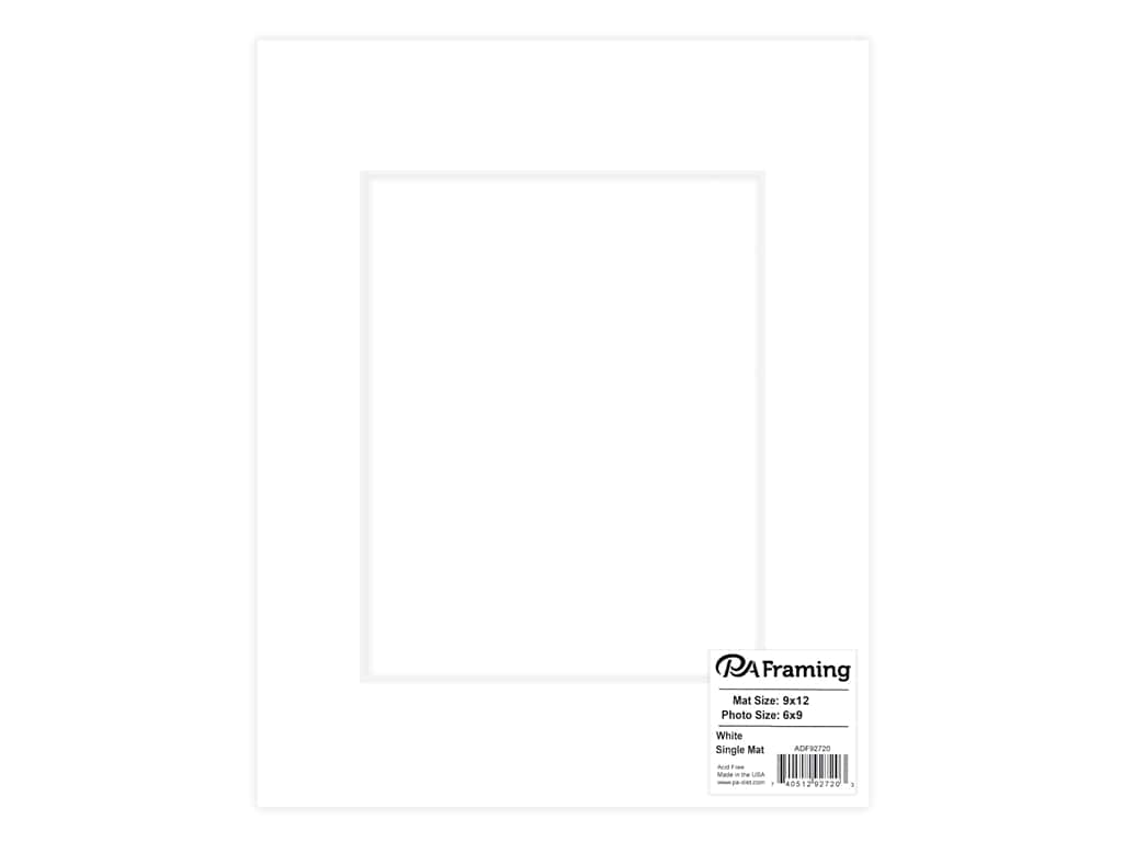 PA Framing Pre-cut Photo Mat Board White Core 9 x 12 in. for 6 x 9 in. Photo White