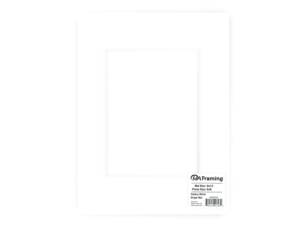PA Framing Pre-cut Double Thick Gallery Photo Mat Board White Core 9 x 12 in. for 6 x 8 in. Photo White