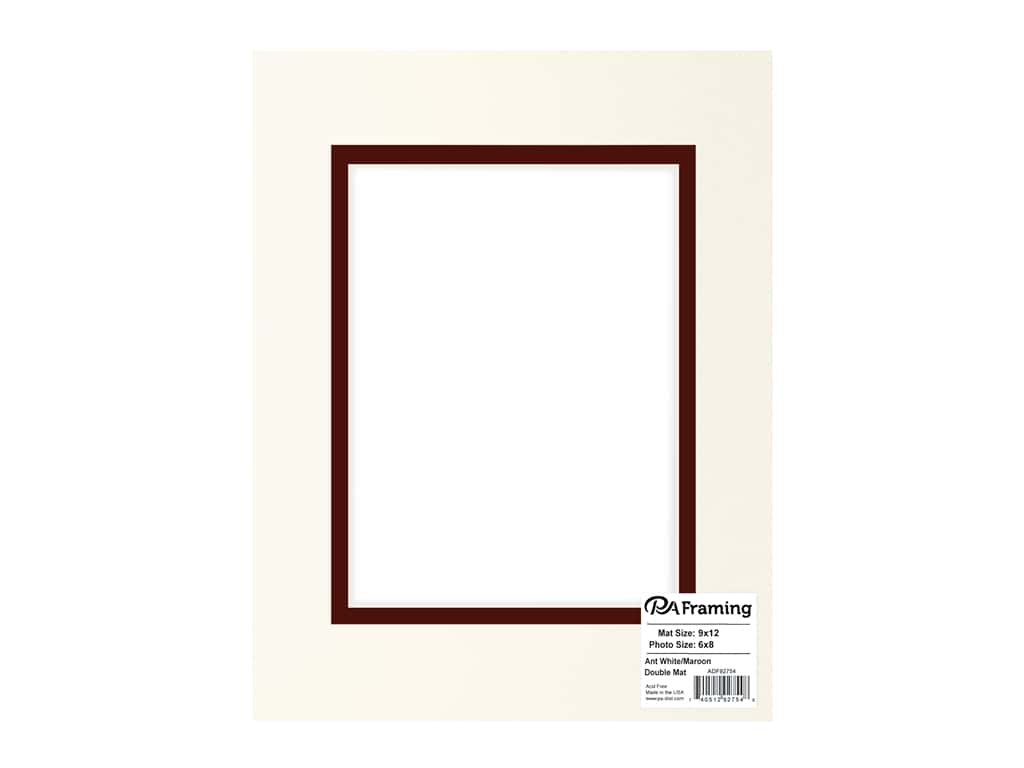 PA Framing Pre-cut Double Photo Mat Board Cream Core 9 x 12 in. for 6 x 8 in. Photo Antique White/Maroon
