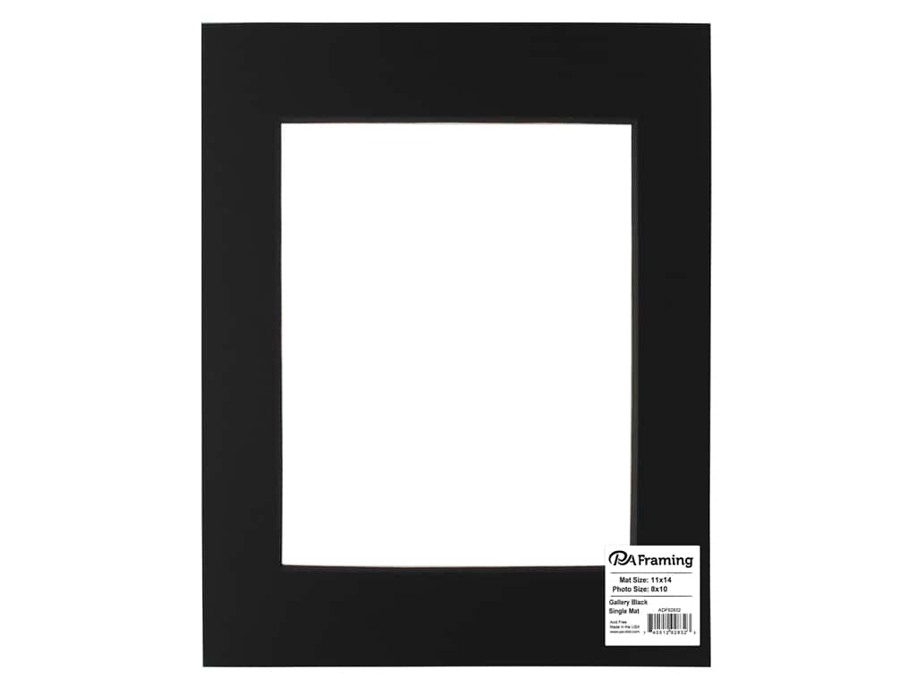 PA Framing Pre-cut Double Thick Gallery Photo Mat Board Black Core 11 x 14 in. for 8 x 10 in. Photo Black