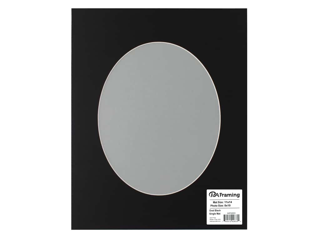 PA Framing Pre-cut Oval Photo Mat Board White Core 11 x 14 in. for 8 x 10 in. Photo Black