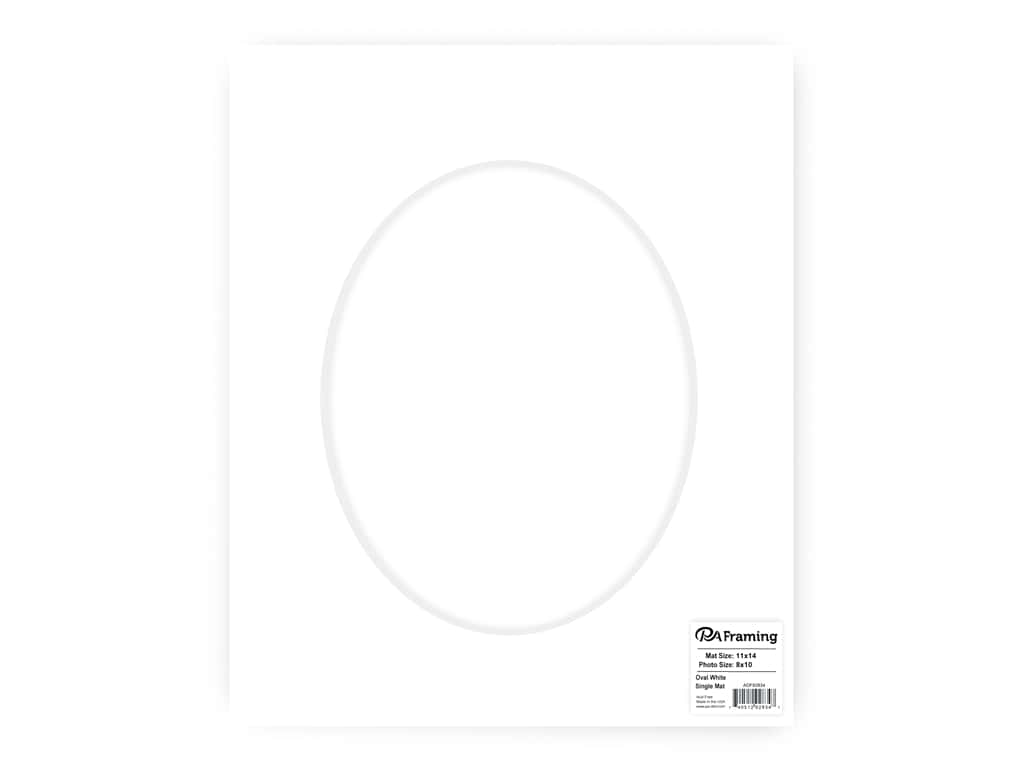 PA Framing Pre-cut Oval Photo Mat Board White Core 11 x 14 in. for 8 x 10 in. Photo White