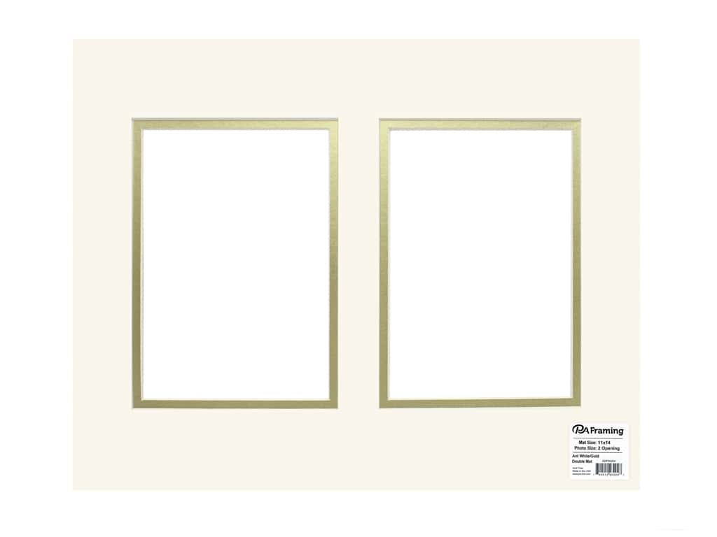 PA Framing Pre-cut Double Photo Mat Board Cream Core 11 x 14 in. 2 Openings Antique White/Gold