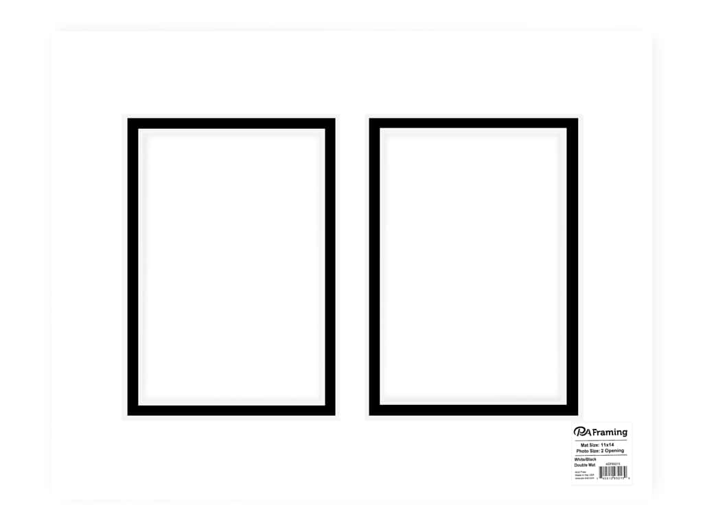 PA Framing Pre-cut Double Photo Mat Board White Core 11 x 14 in. 2 Openings White/Black