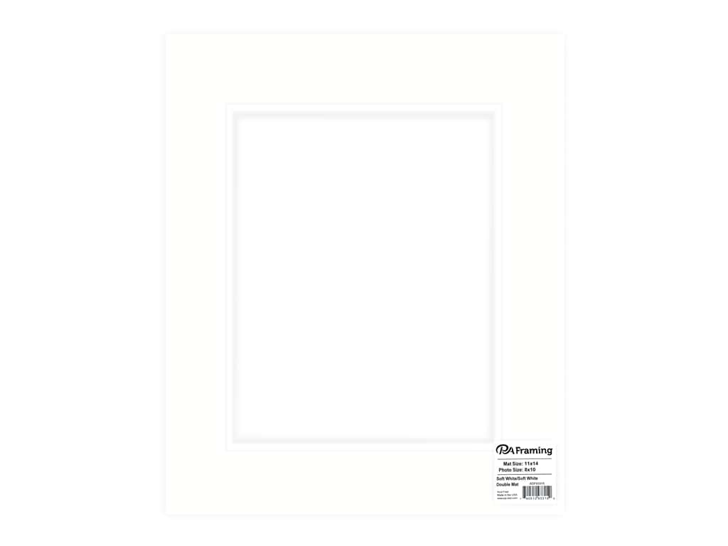 PA Framing Pre-cut Double Photo Mat Board White Core 11 x 14 in. for 8 x 10 in. Photo Soft White/Soft White