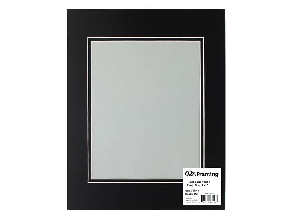 PA Framing Pre-cut Double Photo Mat Board White Core 11 x 14 in. for 8 x 10 in. Photo Black/Black