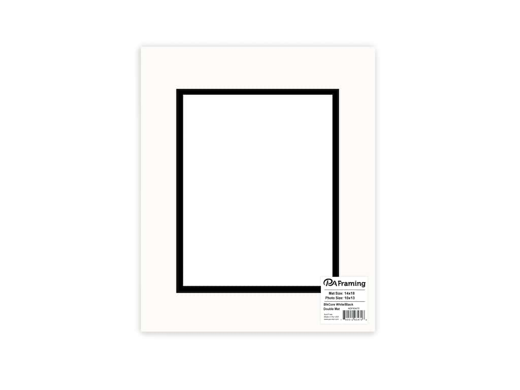 PA Framing Pre-cut Double Photo Mat Board Black Core 14 x 18 in. for 10 x 13 in. Photo White/Black