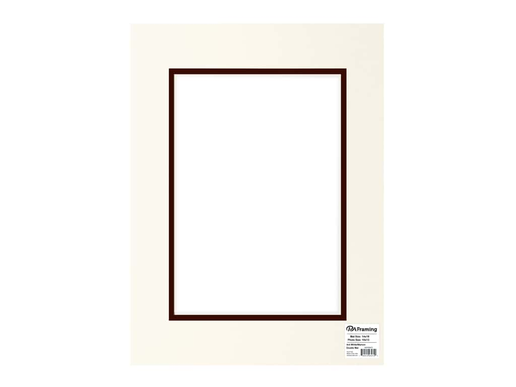 PA Framing Pre-cut Double Photo Mat Board Cream Core 14 x 18 in. for 10 x 13 in. Photo Antique White/Maroon