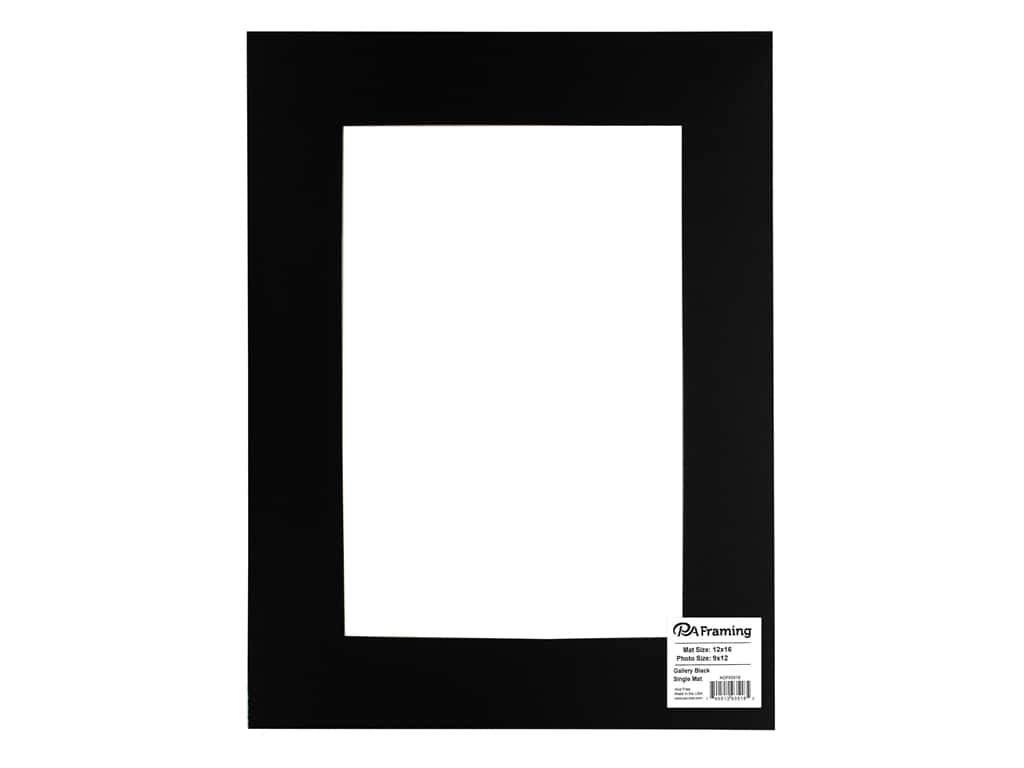 PA Framing Pre-cut Double Thick Gallery Photo Mat Board Black Core 12 x 16 in. for 8 x 12 in. Photo Black
