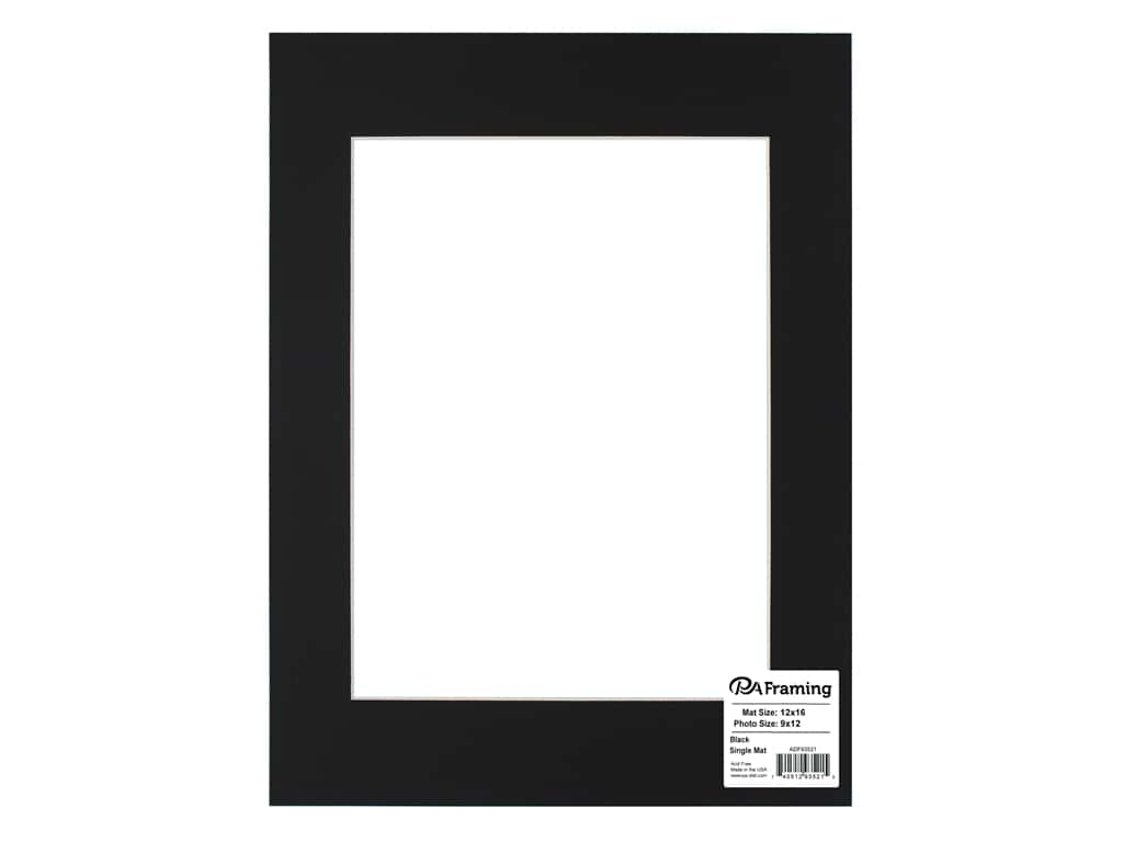 PA Framing Pre-cut Photo Mat Board White Core 12 x 16 in. for 9 x 12 in. Photo Black