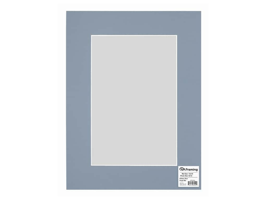 PA Framing Pre-cut Photo Mat Board White Core 12 x 16 in. for 8 x 12 in. Photo Brittany Blue