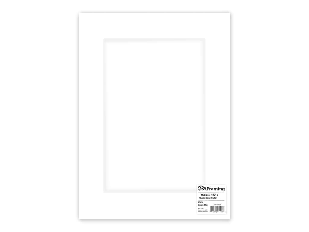 PA Framing Pre-cut Photo Mat Board White Core 12 x 16 in. for 9 x 12 in. Photo White
