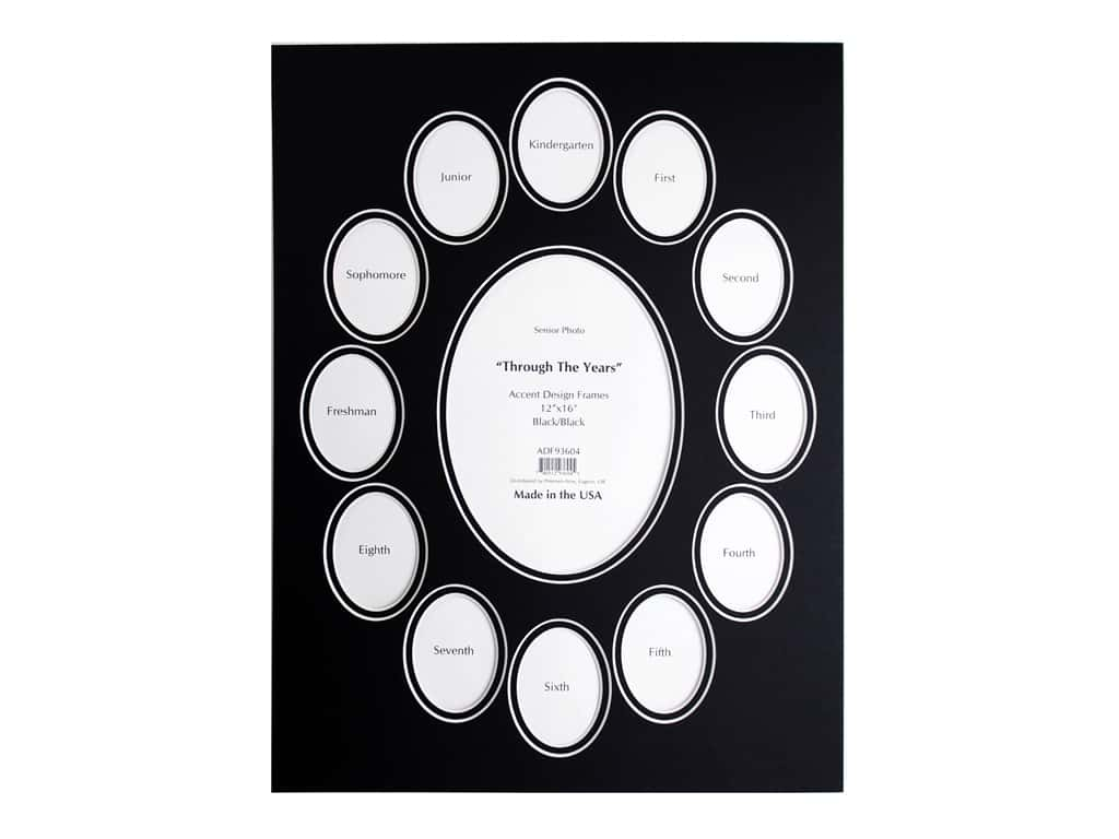 PA Framing Pre-cut Double Photo Mat Board White Core 12 x 16 in. Through The Years Black/Black