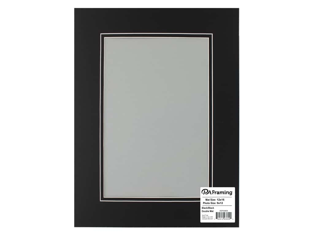 PA Framing Pre-cut Double Photo Mat Board White Core 12 x 16 in. for 8 x 12 in. Photo Black/Black