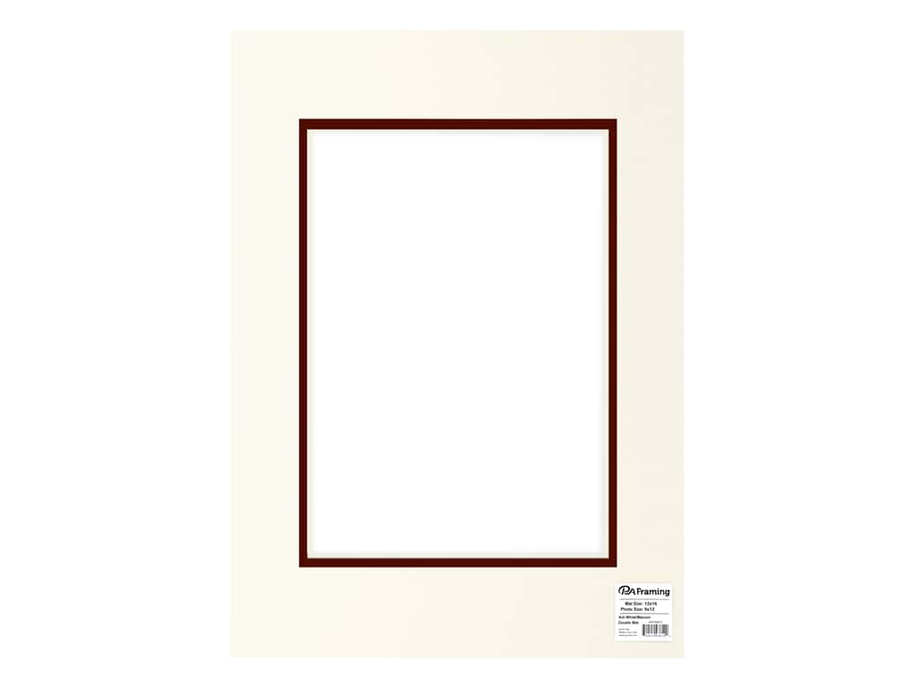 PA Framing Pre-cut Double Photo Mat Board Cream Core 12 x 16 in. for 8 x 12 in. Photo White/Maroon