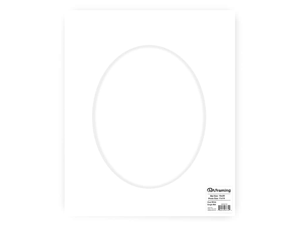 PA Framing re-cut Oval Photo Mat Board White Core 16 x 20 in. for 11 x 14 in. Photo White