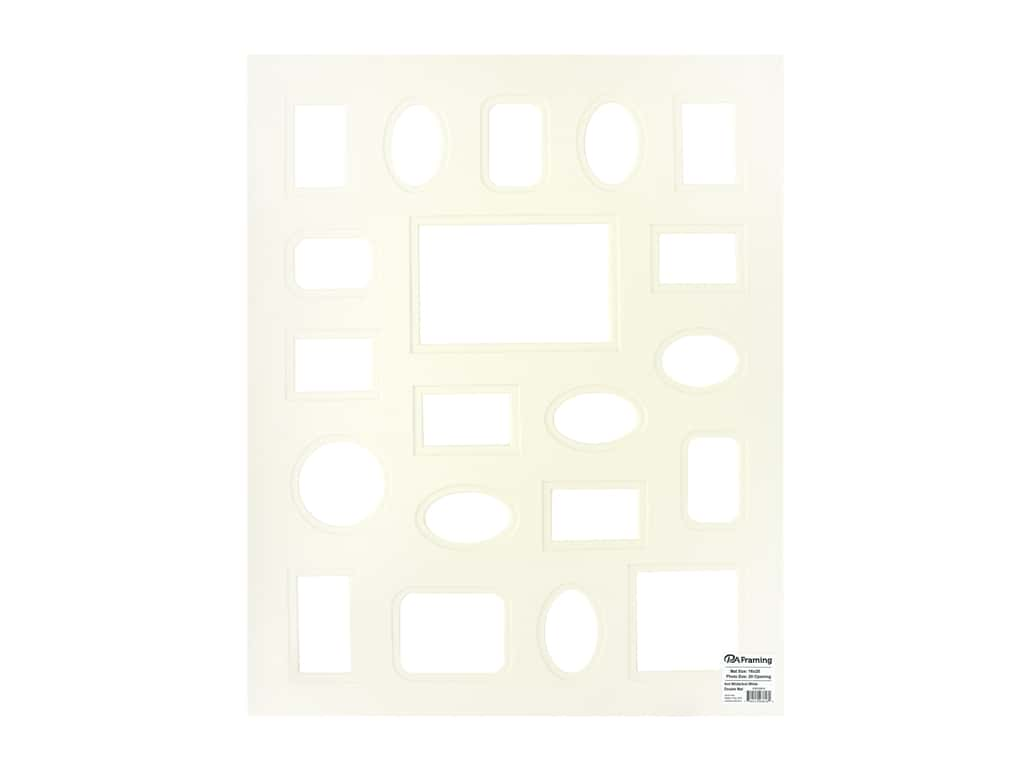 PA Framing Pre-cut Double Photo Mat Board Cream Core 16 x 20 in. 20 Openings Antique White/PA Framing