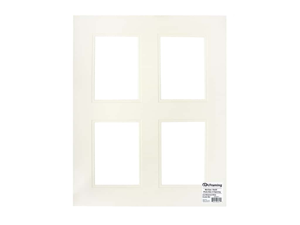 PA Framing Pre-cut Double Photo Mat Board Cream Core 16 x 20 in. 4 Openings Antique White/Antique White