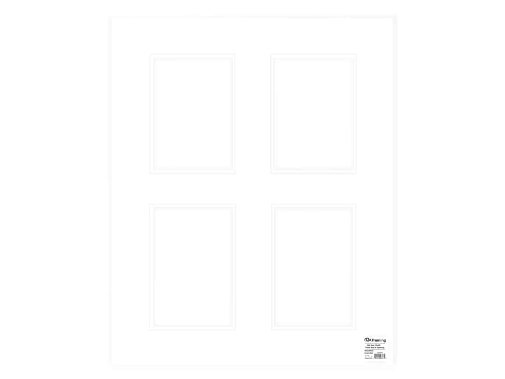 PA Framing Pre-cut Double Photo Mat Board White Core 16 x 20 in. 4 Openings White/White