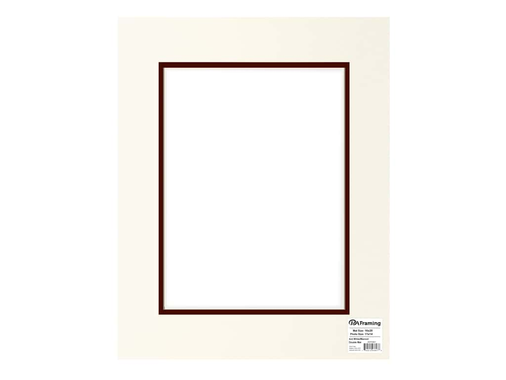 PA Framing Pre-cut Double Photo Mat Board Cream Core 16 x 20 in. for 11 x 14 in. Photo Antique White/Maroon