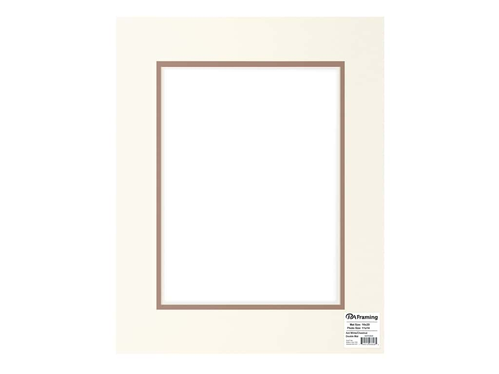PA Framing Pre-cut Double Photo Mat Board Cream Core 16 x 20 in. for 11 x 14 in. Photo Antique White/Chestnut