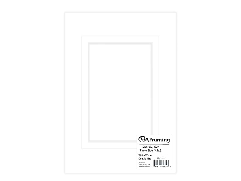 PA Framing Pre-cut Double Photo Mat Board White Core 5 x 7 in. for 3 1/2 x 5 in. Photo White/White