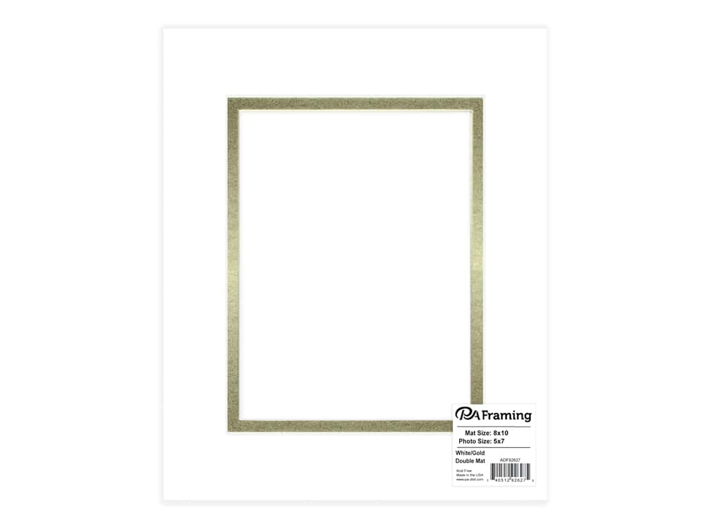 PA Framing Pre-cut Double Photo Mat Board White Core 8 x 10 in. for 5 x 7 in. Photo White/Gold