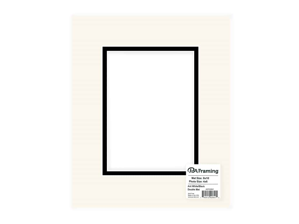 "PA Framing Mat Double 8""x 10"" /4""x 6"" White Core Antique White/Black"