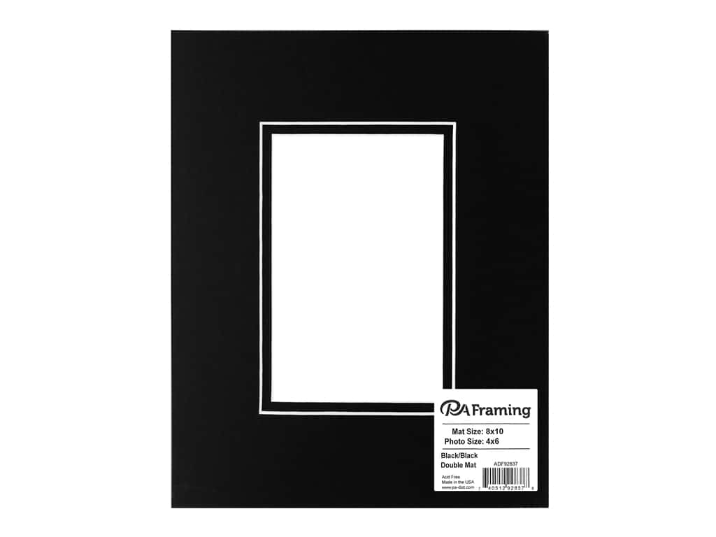 "PA Framing Mat Double 8""x 10"" /4""x 6"" White Core Black/Black"