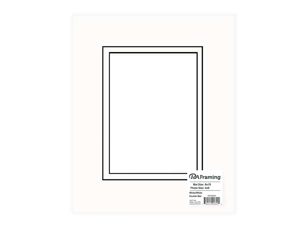 "PA Framing Mat Double 8""x 10"" /4""x 6"" Black Core White/White"