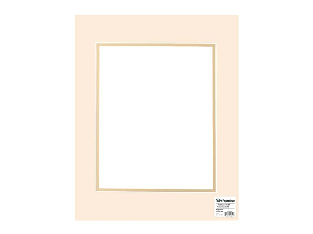 "PA Framing Mat Double 11""x 14"" /8""x 10"" White Core Beige/Pear"