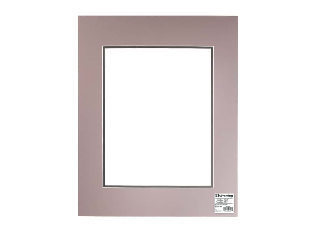 PA Framing Pre-cut Double Photo Mat Board Cream Core 16 x 20 in. for 11 x 14 in. Photo Cobblestone/Cinder