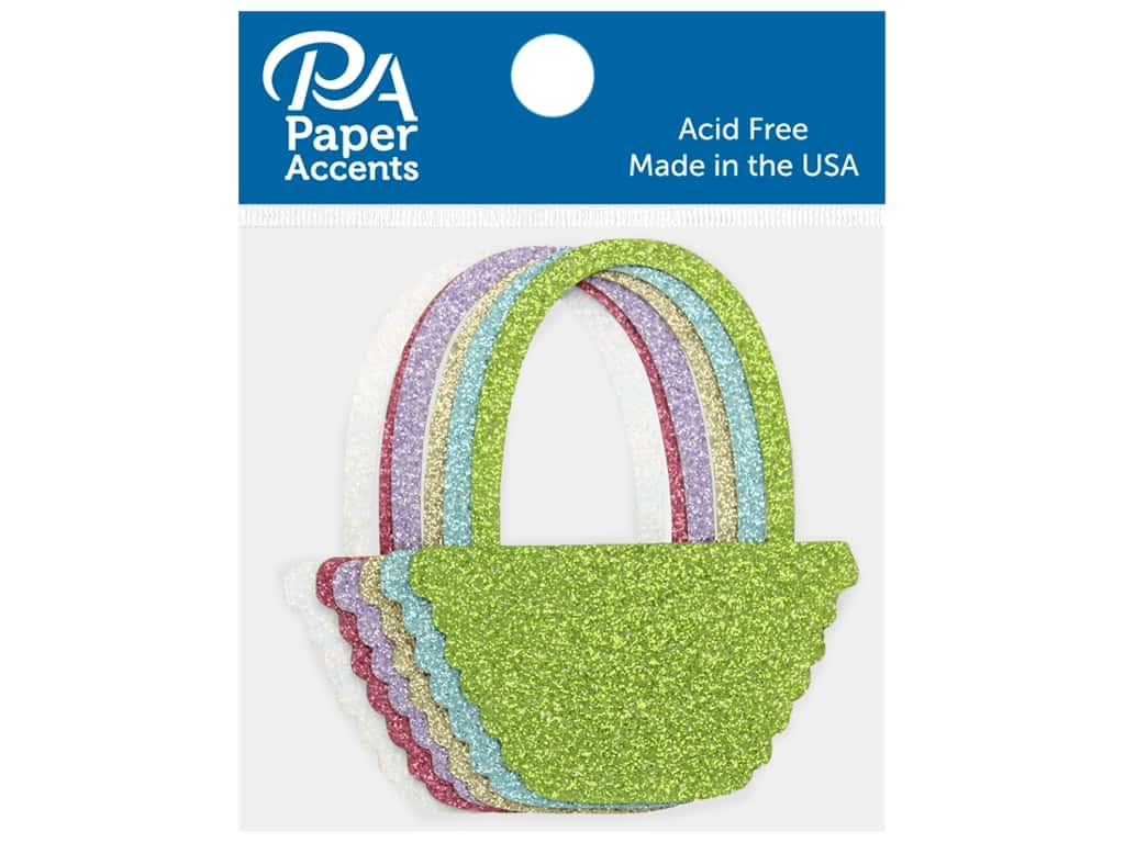 Paper Accents Glitter Shape Basket Gold, Lavender, Green, White, Blue, Pink 8pc