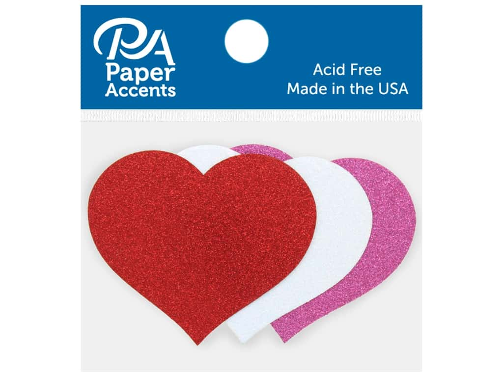 Paper Accents Glitter Shape Large Heart Red, White, Rose 8 pc