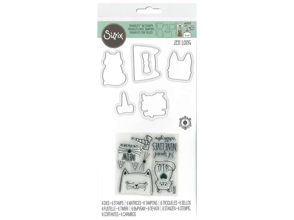 Sizzix Die & Stamp Jen Long Framelits Nine Lives