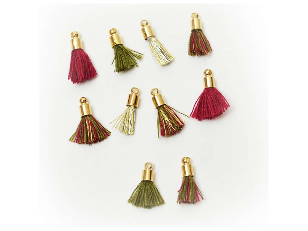 Jesse James Embellishments Tassels Tiny Burgundy & Hunter