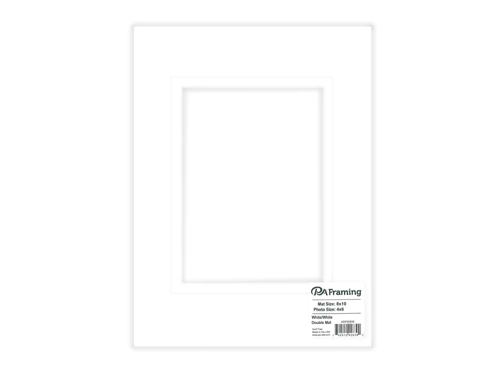 "PA Framing Mat Double 8""x 10"" /4""x 6"" White Core White/White"