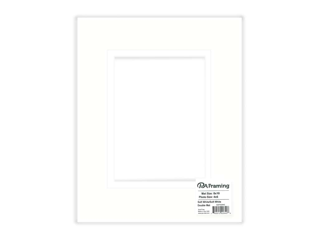 PA Framing Mat Double 8 in. x 10 in. /4 in. x 6 in. White Core Soft White/Soft White