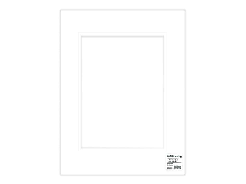 PA Framing Mat Double 12 in. x 16 in. /8 in. x 12 in. White Core White/White