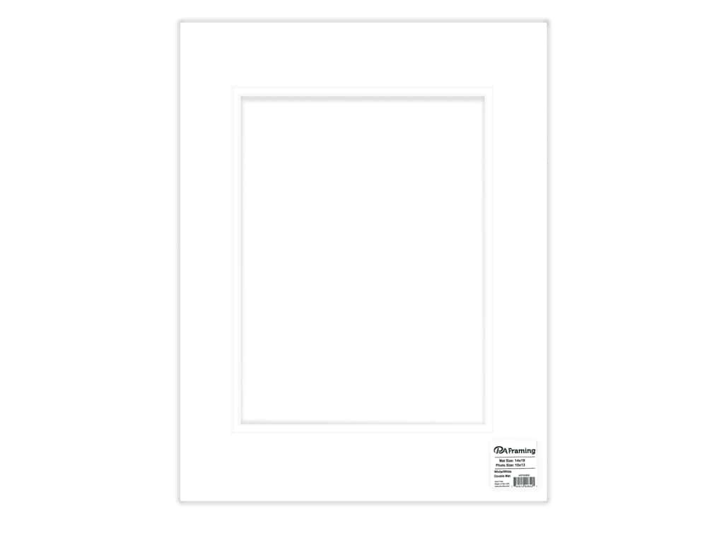 PA Framing Mat Double 14 in. x 18 in. /10 in. x 13 in. White Core White/White